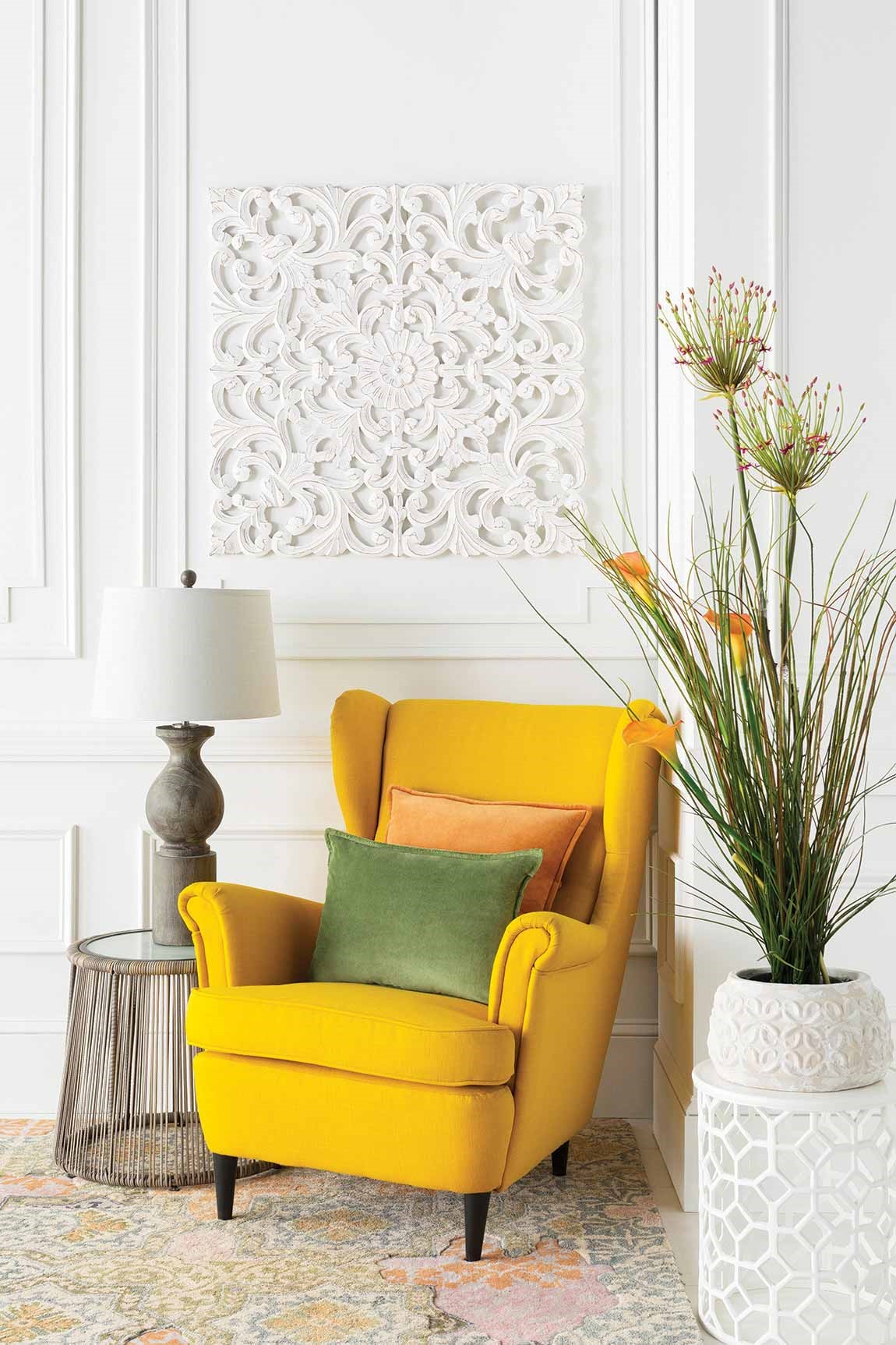 light colored room corner with yellow chair